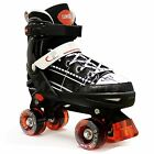 New California Pro KRUZ Childrens Adjustable Kids Quad Wheel Roller Skates Black