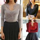 Women Vogue V Neck Hollow Out Floral Lace Patchwork Fitted Top Shirt Blouse New