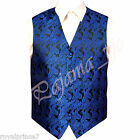 Royal Blue Paisley Tuxedo Suit Dress Vest Waistcoat Formal Party Prom Wedding  for sale  Shipping to Nigeria