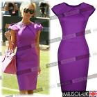 Womens Ladies New Cele Style Purple Offices Business Bodycon Dresses Size 81024