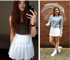 SALE Street Fashion Lady high waist Ball tennis Pleated Skirt  XS-L white red