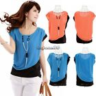 Korean Style Women's Loose Chiffon Tops Short Sleeve Shirt Casual Blouse Office