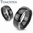 Mens/Womens Tungsten Black/Silver Domed/Beveled Ring/Wedding/Couples/5-13(183)