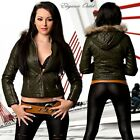 New Ladies Faux Leather Trendy Leather Style Jacket With Fur Hood Khaki