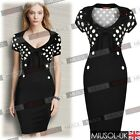 Womens Ladies Polka Dot V-neck Summer Party Bodycon Mini Tea Dresses Size 681024