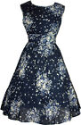 NEW LADIES VINTAGE STYLE 40's/50's SWING ROCKABILLY DAY DRESS - NAVY FLORAL