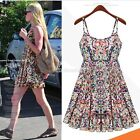 Floral Halter Cotton Blends Printing Plaid for Women Basic Dot Beach Dress C99D