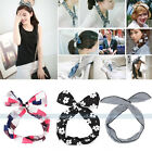 Retro Polka Dot Wire Headband Head Hair Band Bow Ribbon Wrap Bunny Rabbit Ear
