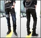 NEW Men Stylish Patched Patched Ripped Holey Pants Torn Slim Cut Jeans Trousers