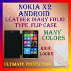 LEATHER DIARY FOLIO FLIP FLAP CASE for NOKIA X2 ANDROID MOBILE FRONT/BACK COVER