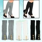 Soft Warm Lady Knitted Knee High Three Buttons Stretch Liners Leg Warmers Socks