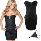 New Sexy Black Stripes Overbust Corset OL Dress Lace up Bustier With Thong Panty