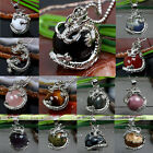Natural Agate Jasper Gemstone Dragon Wrap Inlaid Ball Pendant Beads Fit Necklace