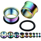 Pair(2) Stainless Steel Horn Hollow O Ring Tunnels Rainbow Ear Plug Gauge 2-14mm