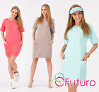 Lovely Womens Casual Shift Dress ☼ Short Sleeve Tunic Crew Neck Sizes 8-12 FA310