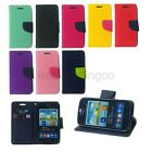 Dual Color PU Leather Flip Cover Case Samsung Galaxy Mobile + Screen Protector