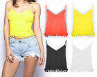 Ladies New Festival Pom Pom Strappy Summer Top Vest Tank Cami Party Frill S-L