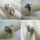 Austrian Clear Crystal Octopus Clear Blue Lizard GP Rose Gold Silver Ring