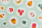 AQUA CUPCAKES VINYL PVC OILCLOTH WIPE CLEAN TABLECLOTH click for sizes