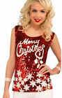 Merry Christmas Holiday Red Sequin Women's Tank Top Shirt Standard & XL