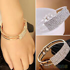 WOMENS 7 ROWS BLING CRYSTAL CUFF BRACELET 2 LAYERS METAL CHAIN WRISTBAND BANGLE
