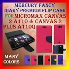 MERCURY PREMIUM DIARY FLIP CASE for MICROMAX CANVAS 2 A110 & A110Q WALLET COVER