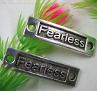"Free shipping Retro style""Fearless"" alloy bracelet charm Connectors 35x10mm"