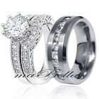 Hot 3 Pcs His Stainless Steel Hers .925 Sterling Silver CZ Wedding Ring Band Set