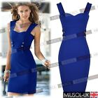 Womens Ladies New Navy Style Offices Casual Mini Bodycon Tea Dresses Size 810246