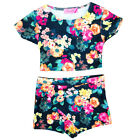 Girls Summer Floral Two Piece Crop top & Skort Set Shorts & Tops 7-13 Years