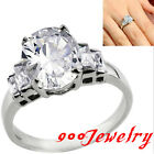 Stainless Steel Cut Oval CZ Crystal Gem Promise Ring + Box Anniversary Gift