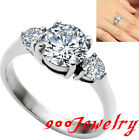 Stainless Steel Cut 7.8mm Round CZ Crystal Promise Ring + Box Anniversary Gift