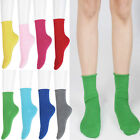 Women Ladies Girls Roll Top Solid Color Ankle High Cotton Socks 1 prs or 5 LOT
