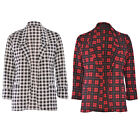Women Ladies 3/4 Sleeve Check Tartan Print Open Pocket Front Blazer Jacket Top