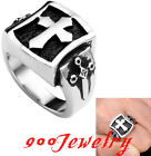316L Stainless Steel Latin Cross Shield Sword Finger Ring Gothic US9-12