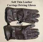 Carriage Driving Gloves Soft Thin Leather Dark Brown Sizes Small up to XL