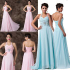 Long Unique Ladies Beaded Formal Chiffon Party Ball Prom Evening Dress Size 6~20