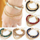 Women's Elegant Gold Chain Braided Rope Multilayer Bracelet handmade Chain NEW