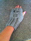 HAND KNITTED OWL FINGER LESS GLOVES IN MANY COLOURS