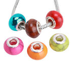 Hot Selling Solid Color Charms Crack Acrylic European Beads Fit DIY Bracelets J