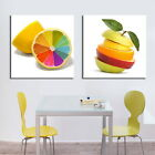 Lemon In Rainbow Colors Canvas Print Set Of 2 Diptych FRAMED Choice Of Clock