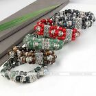 Gemstone Spacer Crystal Round Bead Stretchy Buddha Buddhist Prayer Mala Bracelet