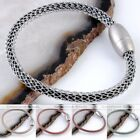 Magnet Clasp Mesh Web Chain Wrap Real Genuine Leather Bracelet Cuff  Wristband