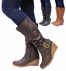 Ladies Womens Leather Style Mid Heel Wedge Knee High Calf Biker Boots Shoes Size