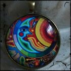 ROUND GLASS TILE PENDANT/MEXICAN ART/PHOTO PENDANT/MOON