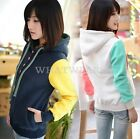 Womens Trendy Long Sleeves Patched Fleece With Pocket Hoodies Tops Pullover WWU