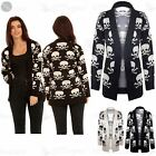 Womens Ladies Open Front Knitted Skull Bones Sweater Long Waterfall Cardigan Top