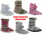 WOMENS NORDIC FLUFFY FUR LINED KNITTED THERMAL SOFT SLIP ON BOOT BOOTEE 3-8UK