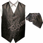 BROWN XS to 6XL Paisley Tuxedo Suit Dress Vest Waistcoat & Neck tie Wedding for sale  Shipping to Nigeria