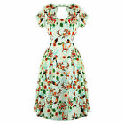Banned Green Tropical Floral 50s Vintage Pinup Party Prom Dress